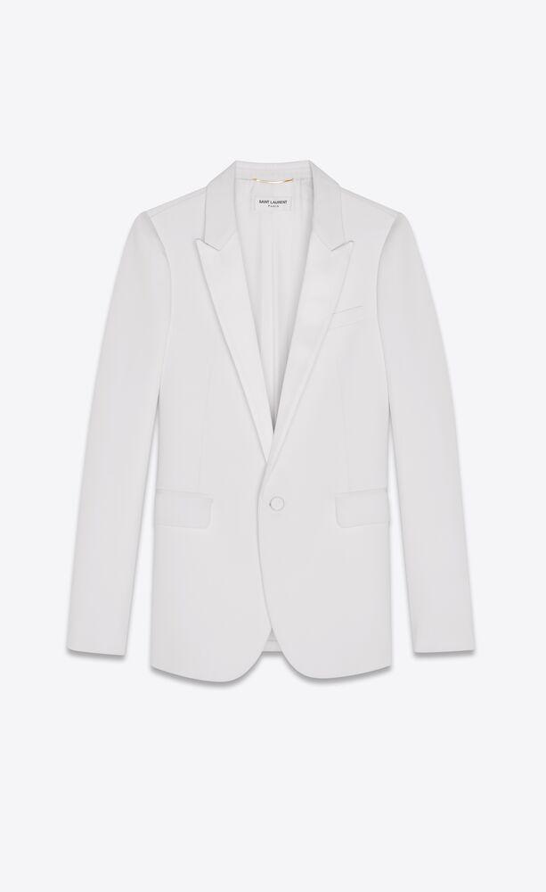 tuxedo blazer aus weißem grain de poudre