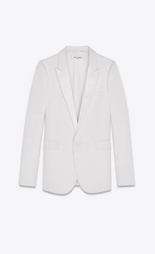 화이트 그랑 드 뿌드르 소재의 턱시도 재킷