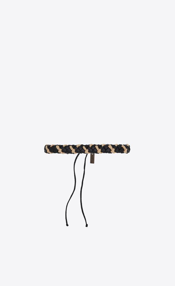 bracelet tissé diagonal en cuir et passementerie