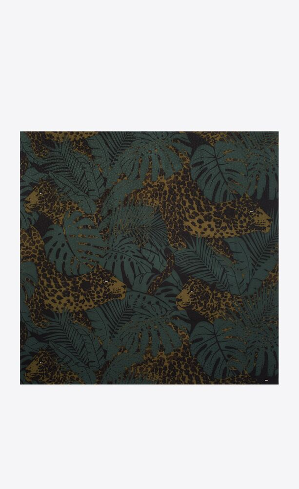 large square scarf in nocturnal jungle leopard silk jacquard