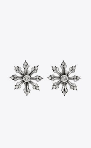 boucles d'oreilles à flocon de neige en métal et cristal