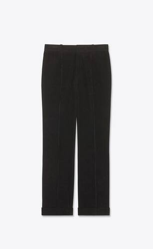 pleated low-rise flare pants in corduroy