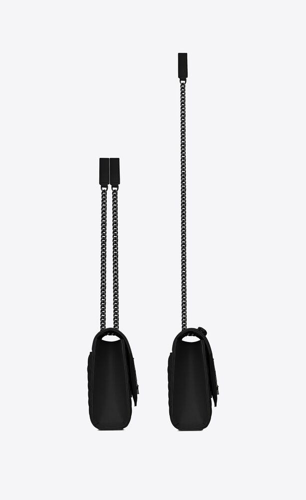 mittlere satcheltasche aus schwarzem matelassé-ledermischgewebe mit struktur