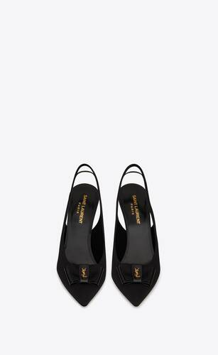 anaïs slingback bow pumps in grosgrain canvas and patent leather