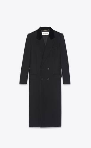 double-breasted long coat in gabardine