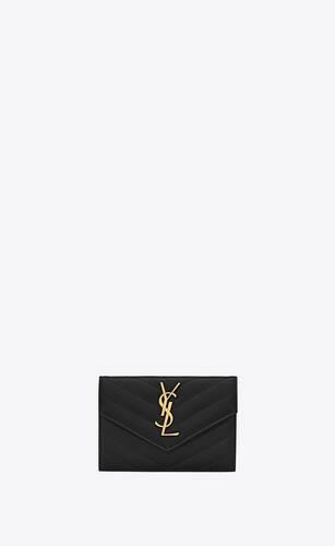 kleines umschlag-portemonnaie aus schwarzem matelassé-leder mit struktur