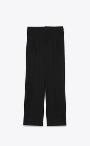 pantalones plisados de grain de poudre saint laurent