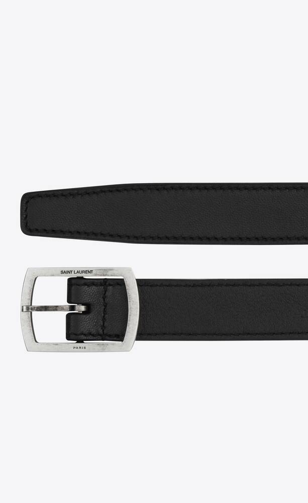 belt with paved buckle in smooth leather