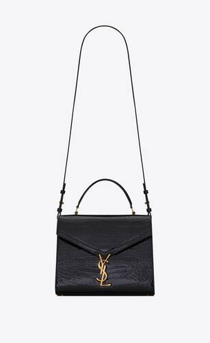 cassandra medium top handle bag in crocodile-embossed patent leather