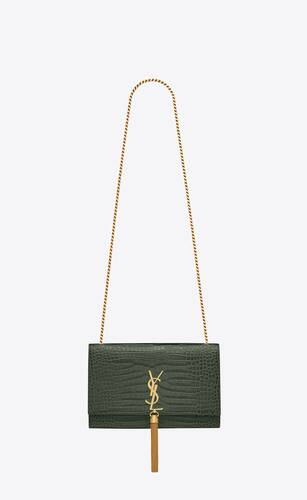 kate medium tassel chain bag in crocodile-embossed shiny leather
