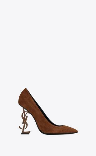 opyum pumps in suede with officer gold-tone heel