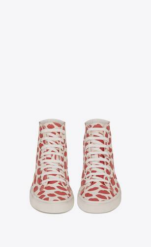 malibu mid-top sneakers in lip-print canvas and leather