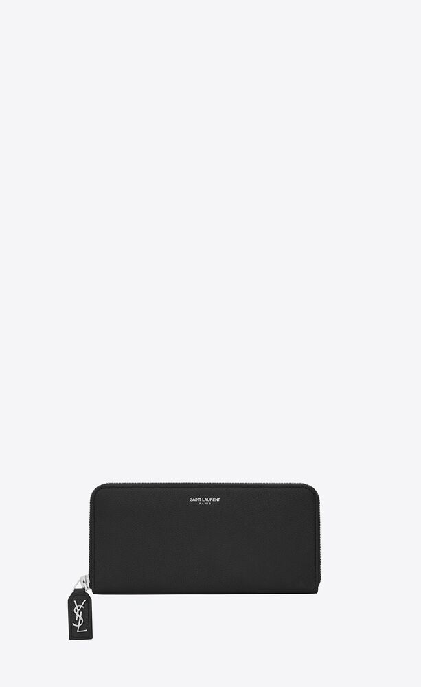 rive gauche zip around wallet with d pull in black grained leather