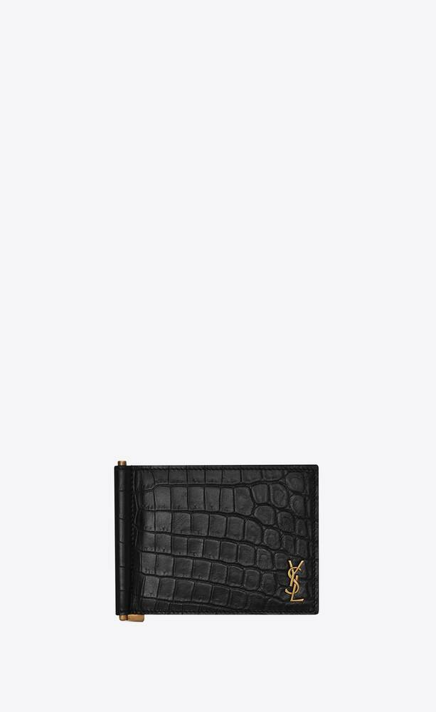 tiny monogram bill clip wallet in crocodile embossed matte leather