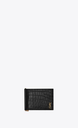 portefeuille mini monogramme à pince à billets en cuir mat embossé façon crocodile