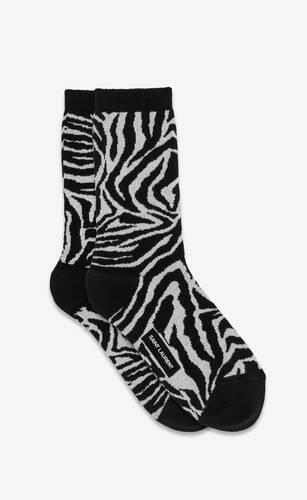zebra and palm tree pattern socks