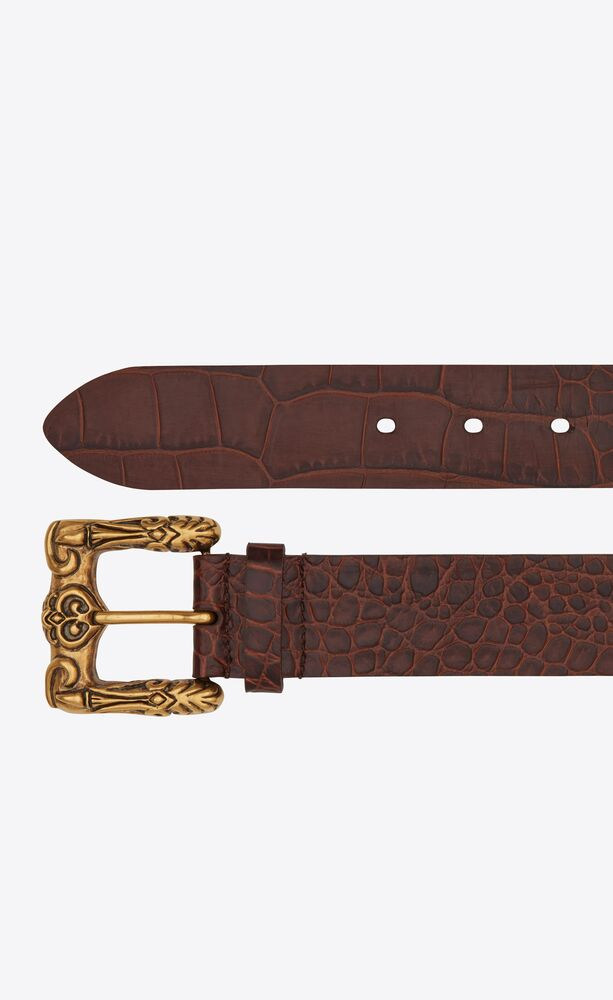 celtic belt in crocodile-embossed leather
