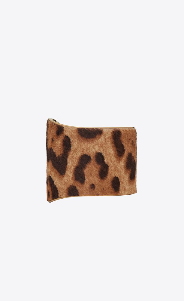 cuff bracelet in leopard-print pony-effect leather and metal