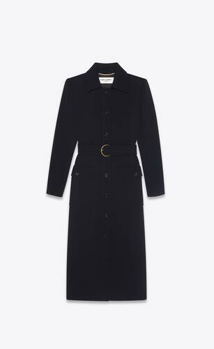 long belted coat in wool jersey