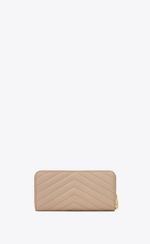 monogram lederportemonnaie mit durchgehendem reißverschluss und grain-de-poudre-prägung
