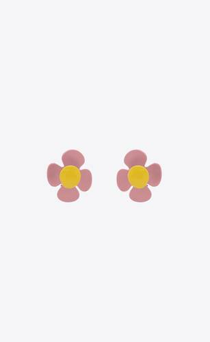 flower earrings in metal and lacquer