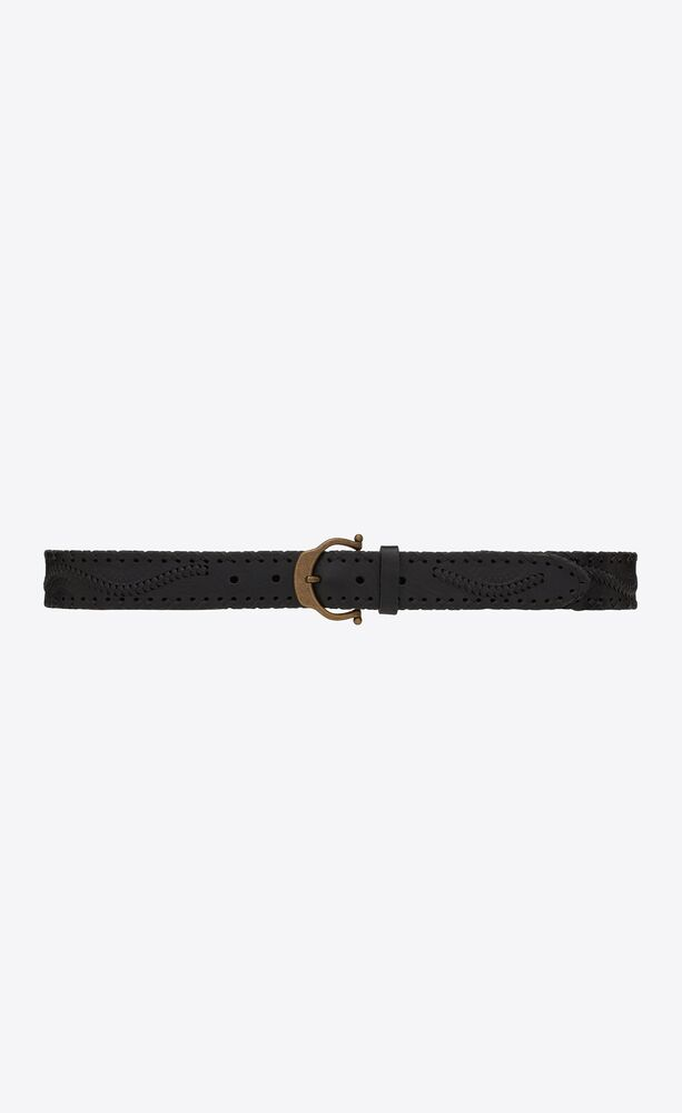 horseshoe buckle belt in embossed and braided leather