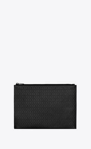 monogram zippered tablet holder in embossed smooth leather