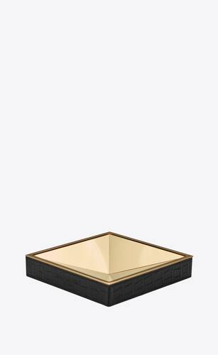 pyramid pin tray in metal and crocodile embossed leather