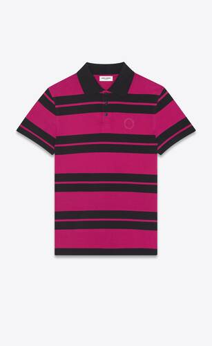 monogram polo shirt in striped jersey