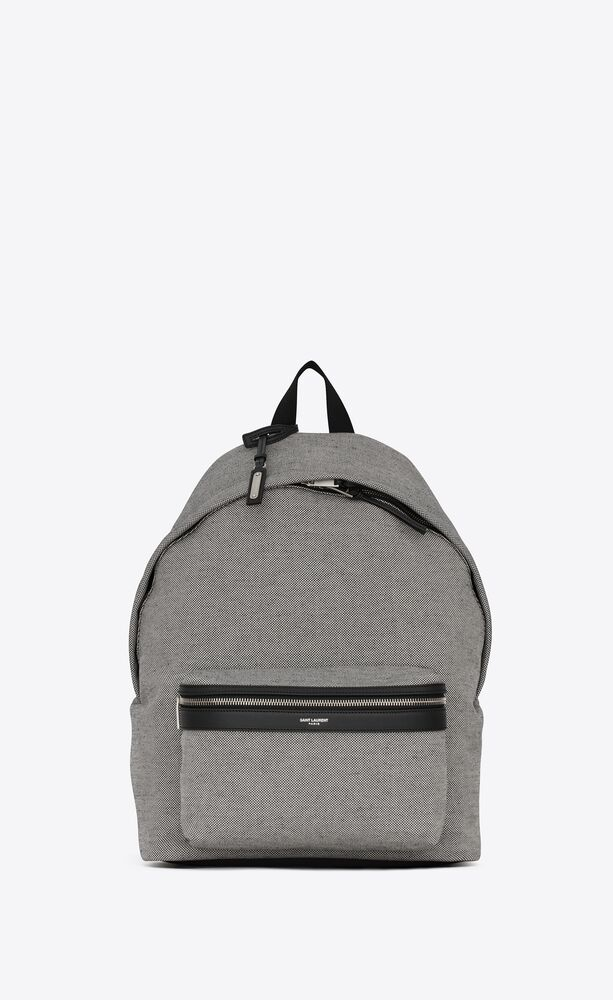 city backpack in canvas and lambskin