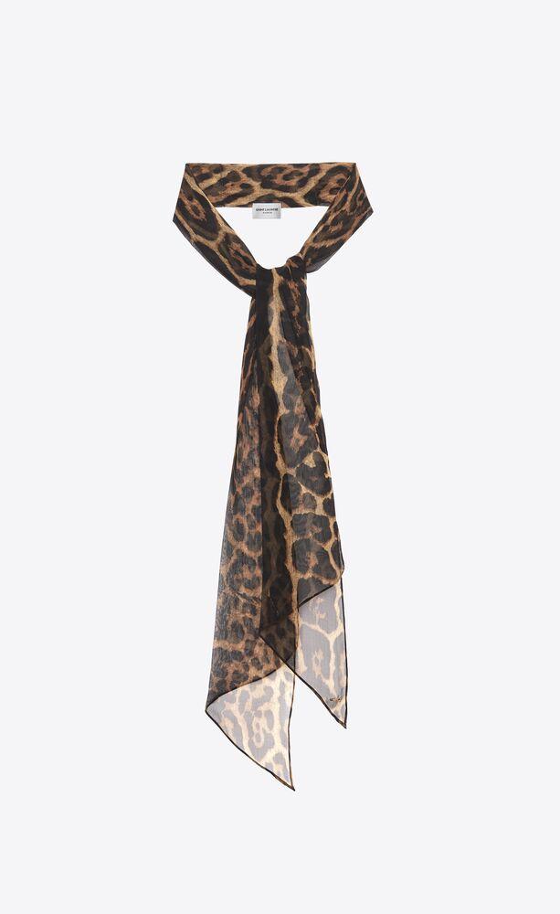 leopard-print lavallière scarf in silk muslin