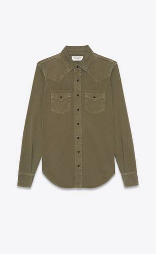 western shirt in khaki stonewashed denim