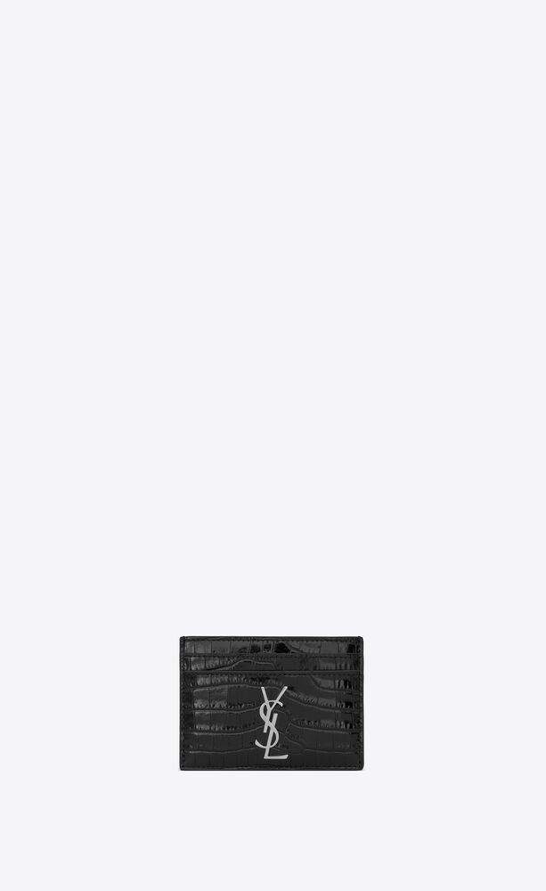 monogram card case in crocodile embossed shiny leather