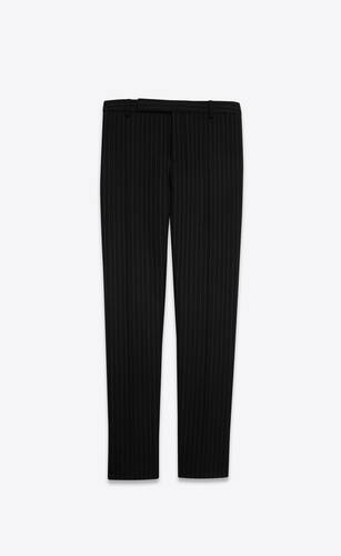 tailored pants in rive gauche striped wool flannel