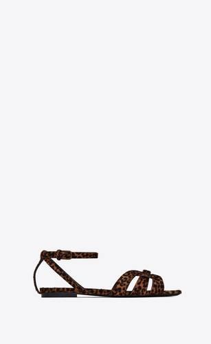 sandali flat tribute in pelle effetto pony con stampa leopardata