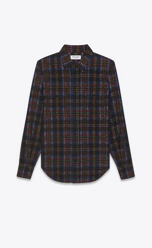 classic western shirt in checked corduroy