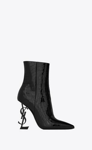 opyum bottines en cuir verni embossé alligator et talon noir