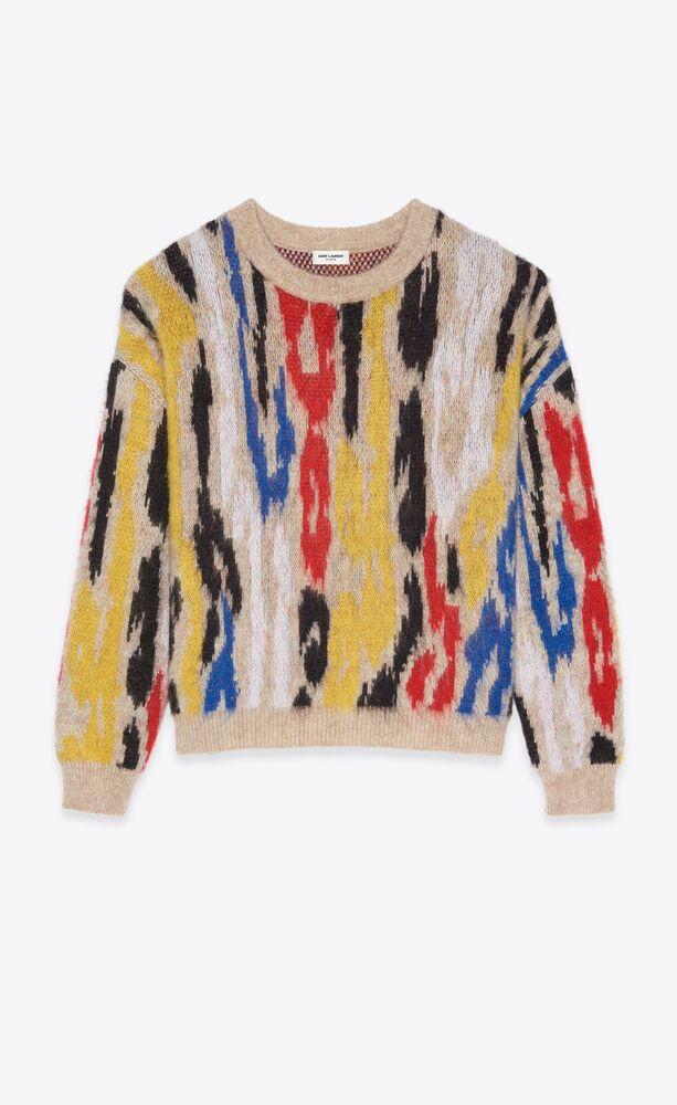 suéter de jacquard con estampado de leopardo