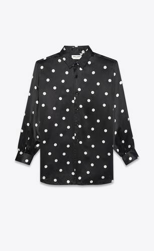 western shirt in dotted silk satin
