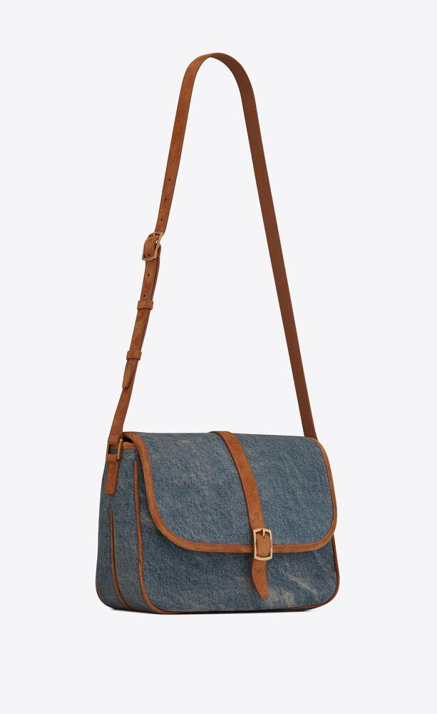 sorbonne flap bag in vintage denim and suede