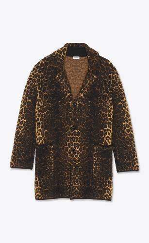 mohair jacquard knit coat and leopard-print wool