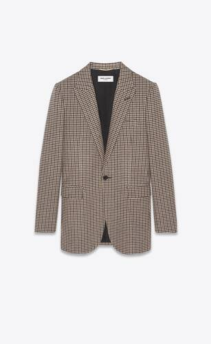single-breasted jacket in wool houndstooth