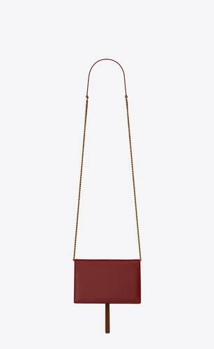 kate chain wallet with tassel in smooth leather with heart studs