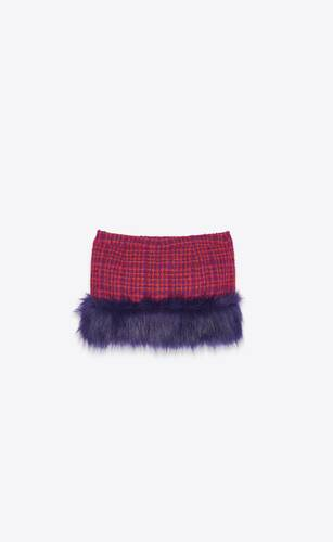 mini skirt in bouclé tweed with faux-fur