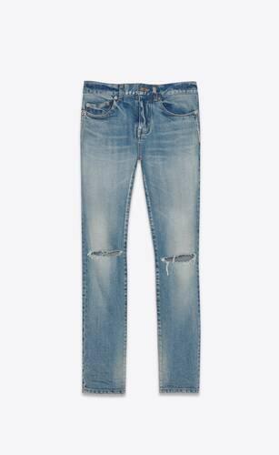 mid-rise skinny jeans in bright blue stretch denim