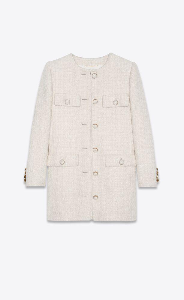 veste longue en tweed mélangé
