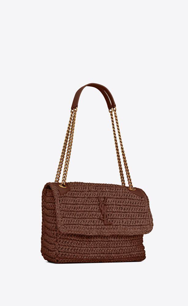 niki medium in raffia and leather