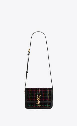 borsa satchel solferino piccola in tweed a quadri e pelle box saint laurent