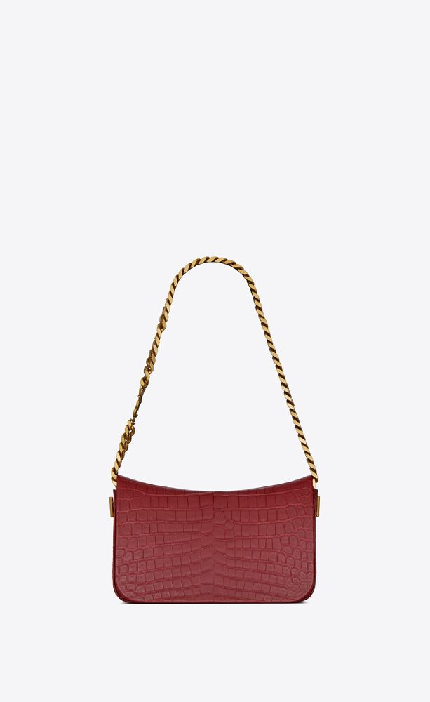 elise chain bag en cuir embossé crocodile
