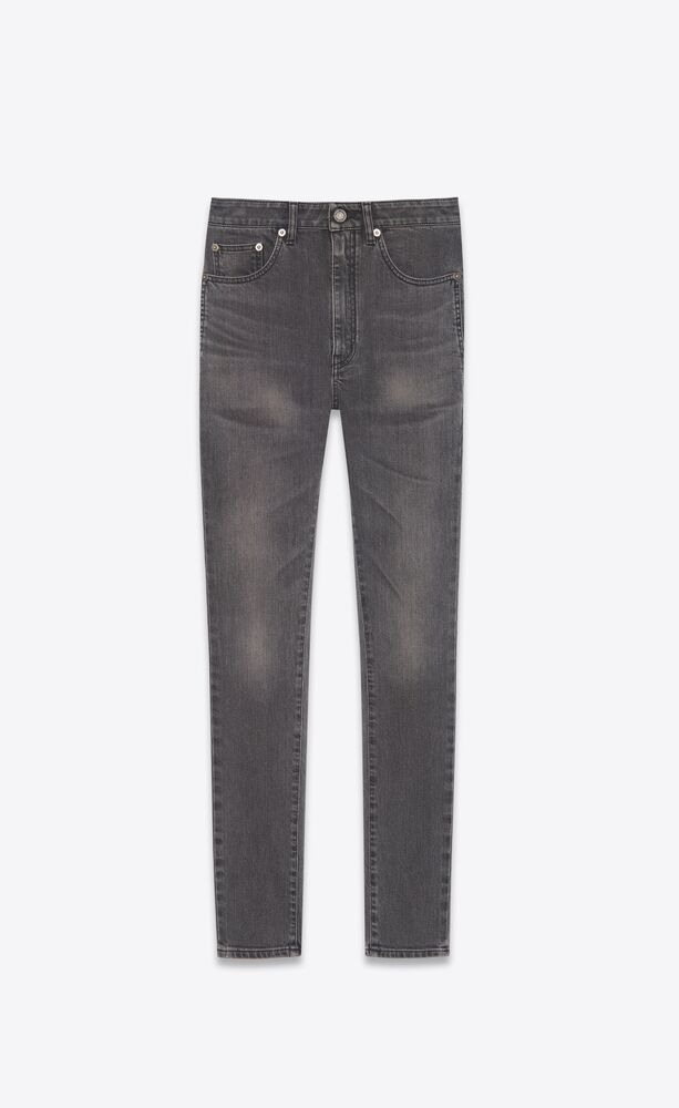 high-rise skinny jeans in grey black stretch denim